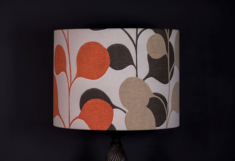 Lampshade, Table Lamp, Pod, Harlequin, Modern, Botanical, Orange Decor, Plant, Coffee Tones, Small, Drum, Fabric, Bold