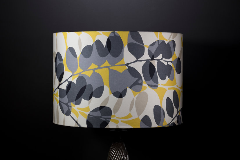 Lampshade, Pendant Shade, Lunaria, Scion, 45x30, Modern, Yellow, Grey & White, Silhouette Leaf Print, Large, Drum, Fabric