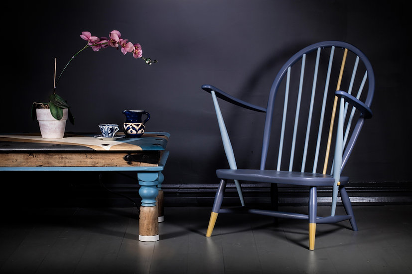 Upcycled Furniture, Painted Blue, Patience & Gough Furniture, Refurbished Ercol Furniture, Ercol Chair