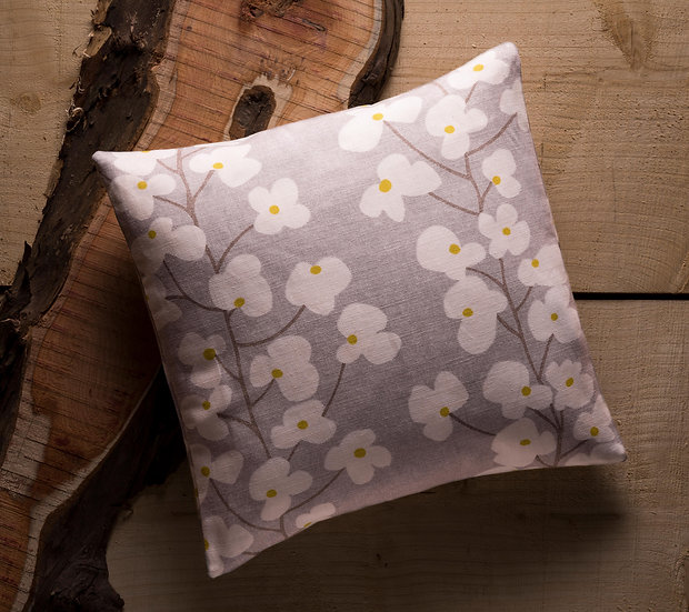 Wallflower Cushion, Throw Cushion, Botanical, Neutral Colours, Flower, Duck feather inners, Small, 16x16, John Lewis