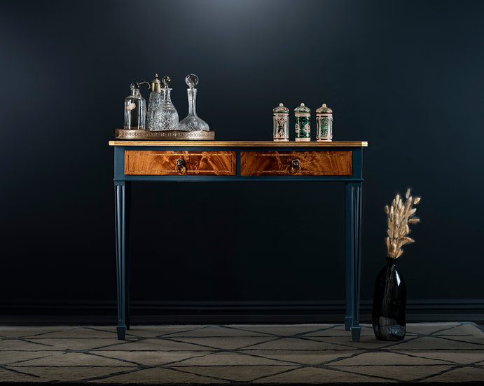 House of Hackney Zeus velvet console table, Upcycled & hand painted in an indigo with an oiled oak top and 2 drawers.