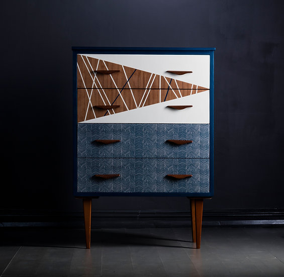 Upcycled Mid Century Teak Chest Of Drawers, Blue, Geometric, Fabric Drawers, Bedroom Storage, Bedroom Renovation, Storage