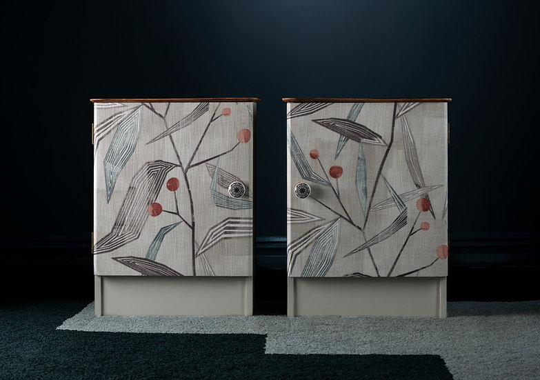 Pair Of Midcentury Bedside Tables Hand Painted In Soft Grey For A Modern Look & Fabric Covered Doors With A Minimal Print.