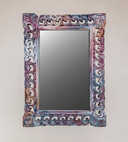 Painted Mirror, Wall Mirror, Bedroom Decor, Bathroom Mirror, Carved, Wood, Multi Coloured, Colourful, Pink, Yellow, Blue