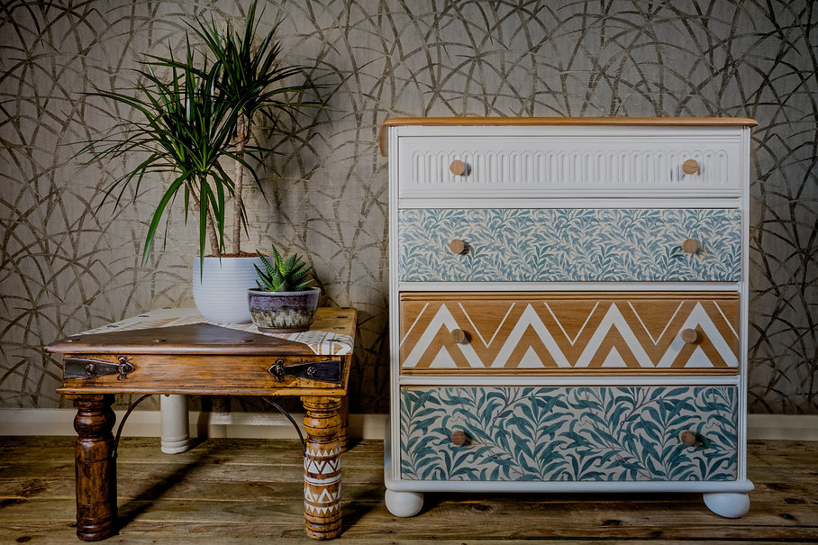 Upcycled & painted furniture in white and green