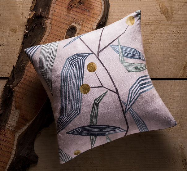 Entity Cushion, Throw Cushion, Botanical, Modern, Contrasting Colours, Duck feather Inners, Small, 17x17, Blue, Harlequin