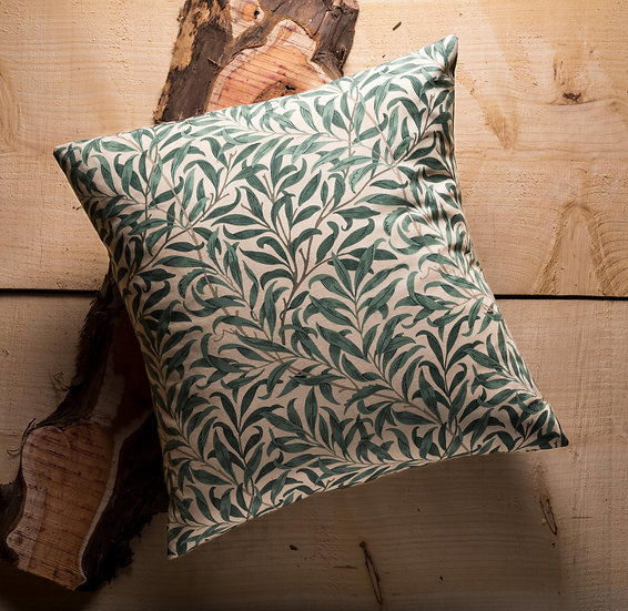 Willow Boughs Cushion, Throw Cushion, Leaf, Soft Colour, Duck feather inners, Small, 16x16, Green, William Morris, Cotten