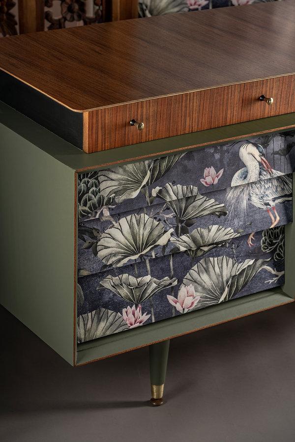 Upcycled designer sideboard for dark int
