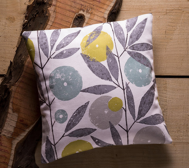 Blomma Cushion, Throw Cushion, Botanical, Neutral Colours, Flower, Duck feather inners, Small, 17x17, Orange Details, Scion