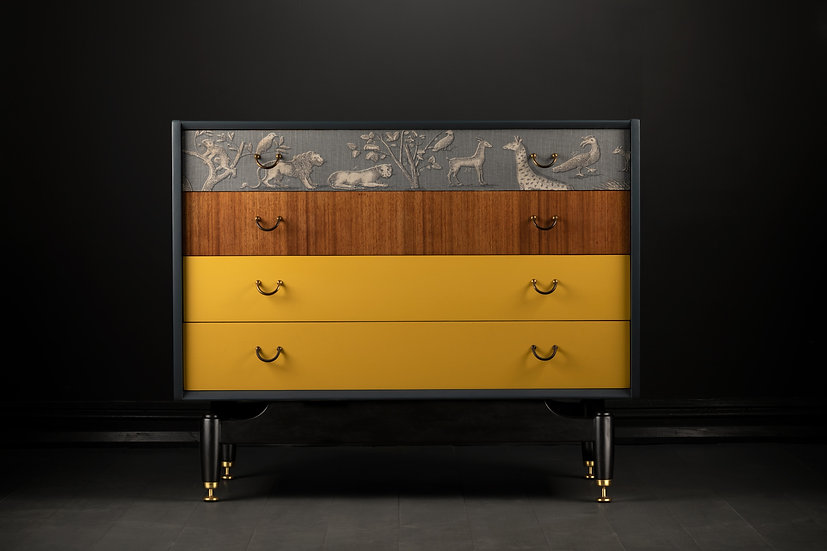 Refurbished G-plan Chest of Drawers, Painted Yellow & Grey, With Teak Details, Animal Fabric, Clarke & Clarke, Modern, Low