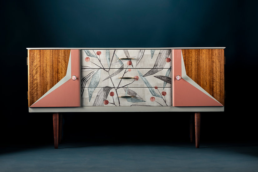 Patience & Gough upcycled midcentury sideboard, hand-painted in a soft pink and pale grey for a modern look
