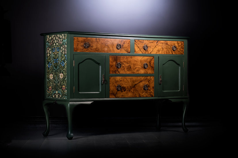 1920's Sideboard, Walnut Sideboard, Walnut Furniture, Painted Deep Green, William Morris Fabric, Blackthorn, Vintage