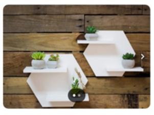 Wooden Hexagon Shelves