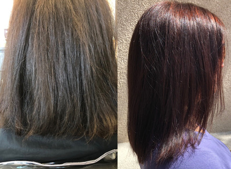 Take the Frizz out of your Hair! With Brazilian Blowout! Call for a consultation! Before & After