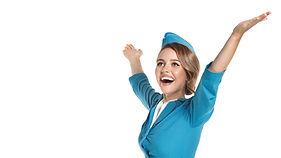 White_background_Stewardesses_Blonde_gir