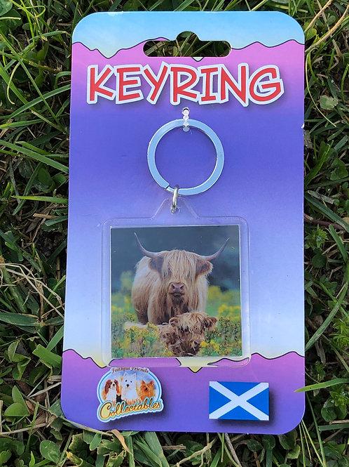 Highland cow calf key ring