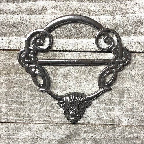 Highland Cow Pewter Scarf Ring
