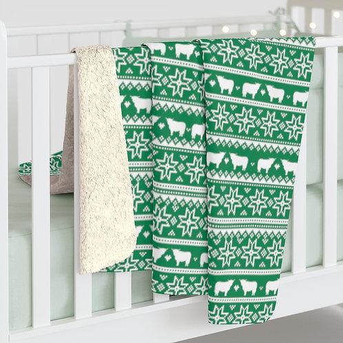Christmas Cow Fleece Blanket
