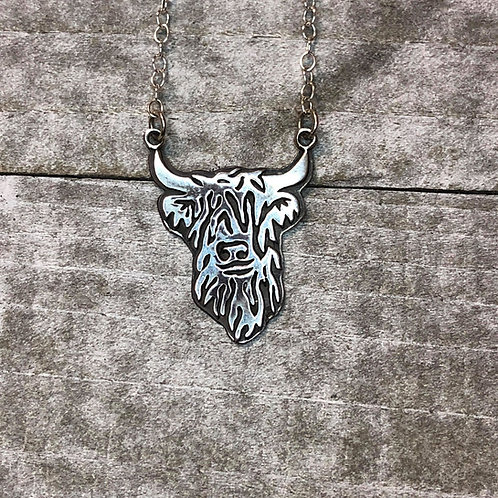 Handmade Sterling Highland Cow Necklace