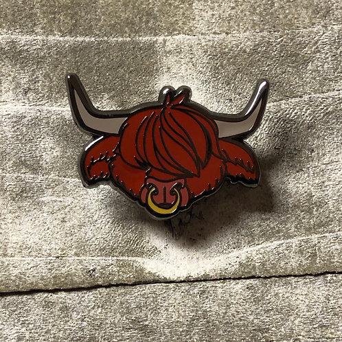 Scottish Highland Bull enamel pin