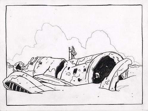 Ancient Plane Wreck Original Ink Drawing