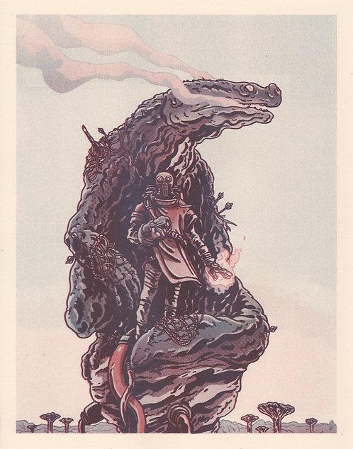 Warlock & Dragon Risograph Print