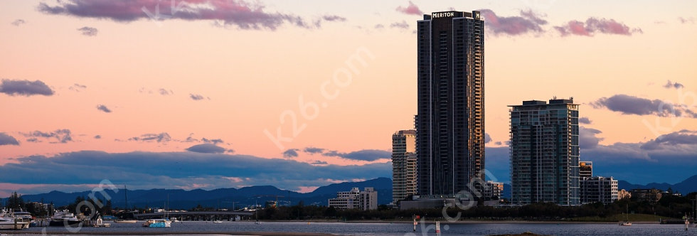 Meriton Southport tower at sunset