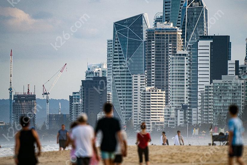 Crowded beach with Jewel Towers