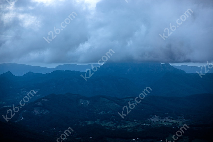 Mt Warning covered in clouds