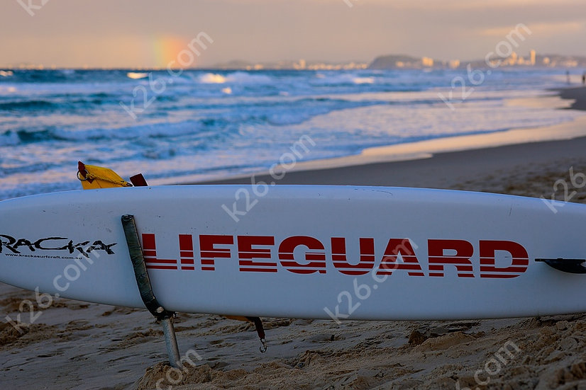 Lifeguard's surf board
