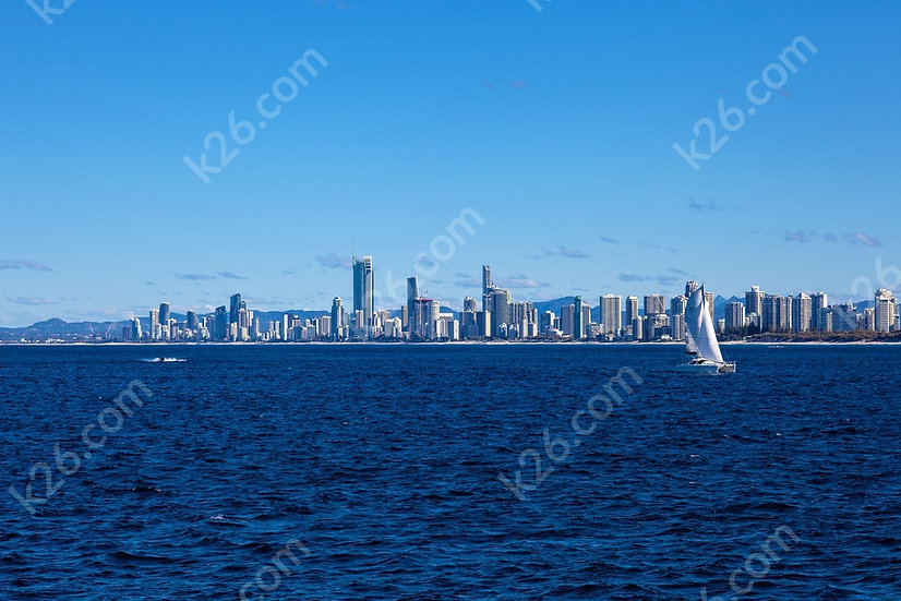 Gold Coast skyline viewed from the ocean