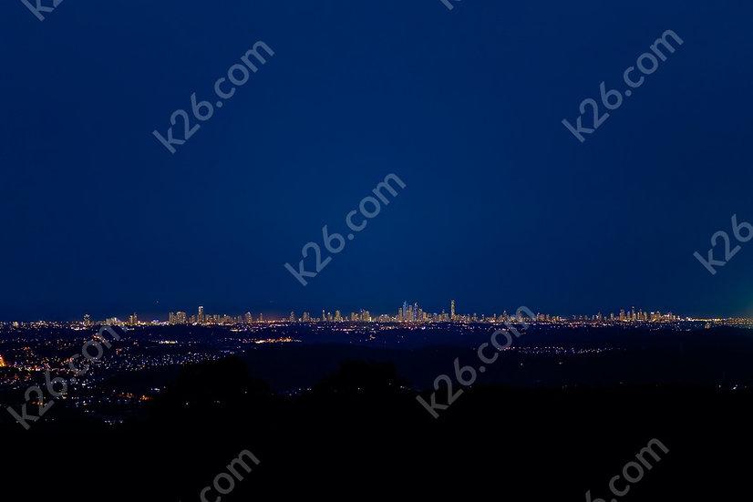 Gold Coast Skyline at night from the Hinterland