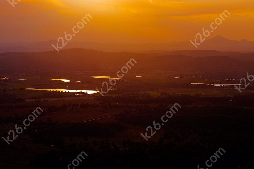 Hinterland vista at sunset