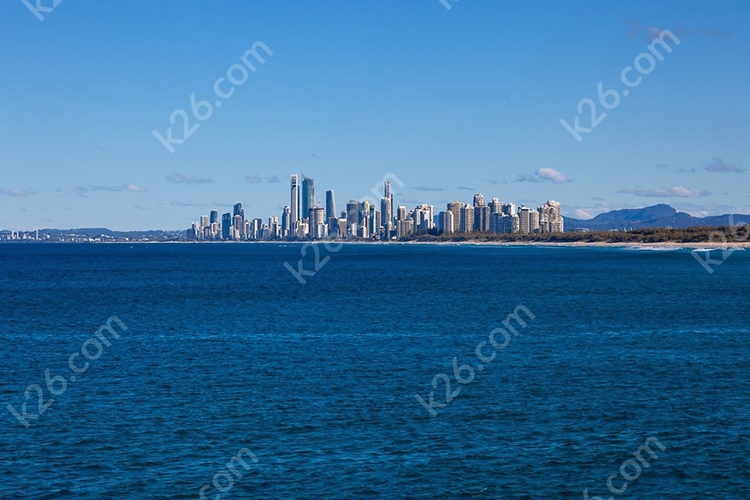 Gold Coast skyline ocean view