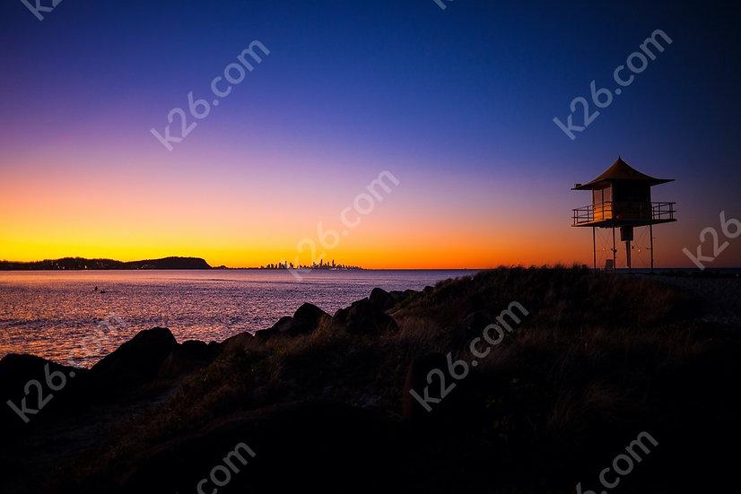 Lifeguard tower at twilight