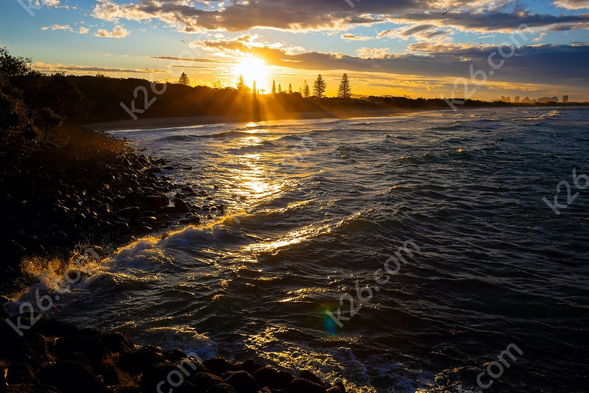 Sunset over the beach at Fingal Head