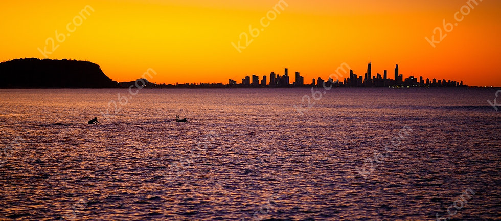 Gold Coast skyline at sunset