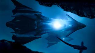 The USS Angelus lights up!