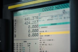 CNC machine monitor display with program