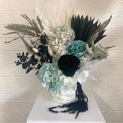 Teal blue, Black & White Arrangement