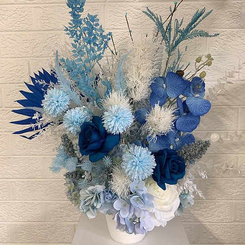 All Shades of Blue in White Vase