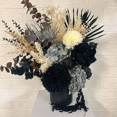 Black & Grey with Black vase