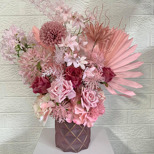 Pinks Combo in Pink & Gold Vase