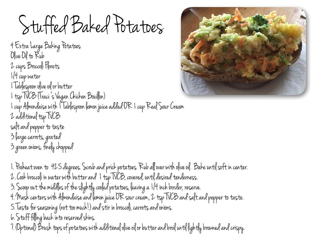 Stuffed Potato Printable Recipe, Left Click to Print