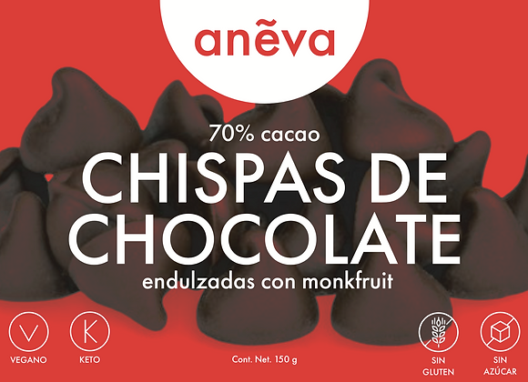 Chispas de Chocolate Veganas sin Azúcar Endulzadas con Monkfruit