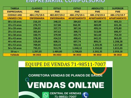 71-99100-9208 Preços Unimed Central Nacional - PME Salvador