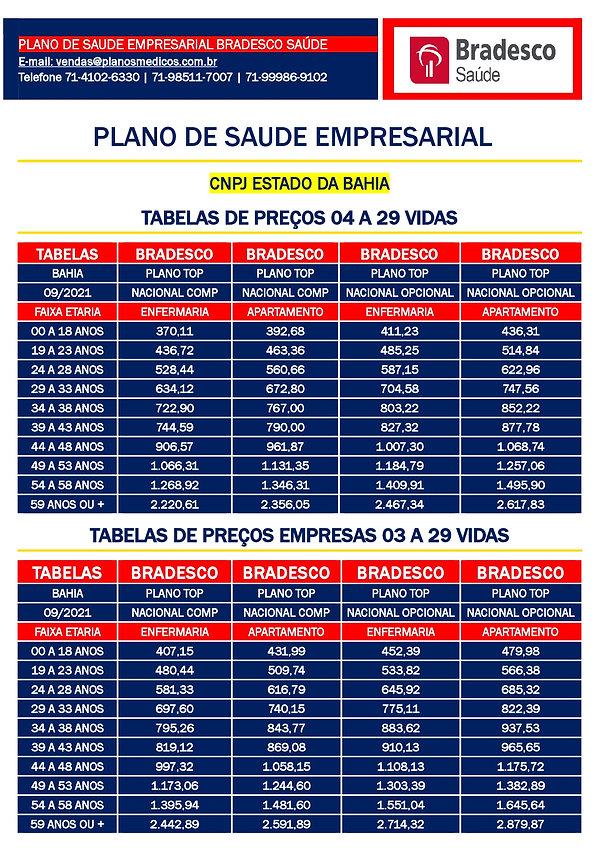 TABELA COMPARATIVA DE PREÇOS PLANOS DE SAUDE EMPRESARIAIS SAUDE BRADESCO EMPRESARIAL