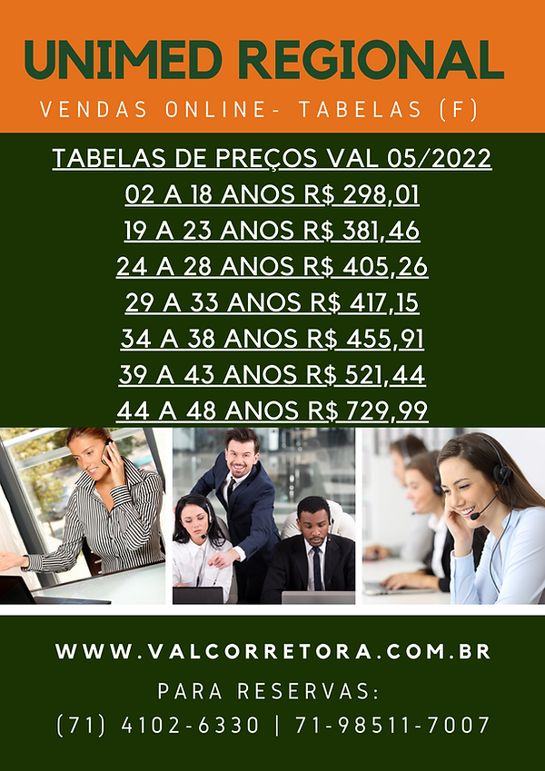 tabelas de valores unimed regional