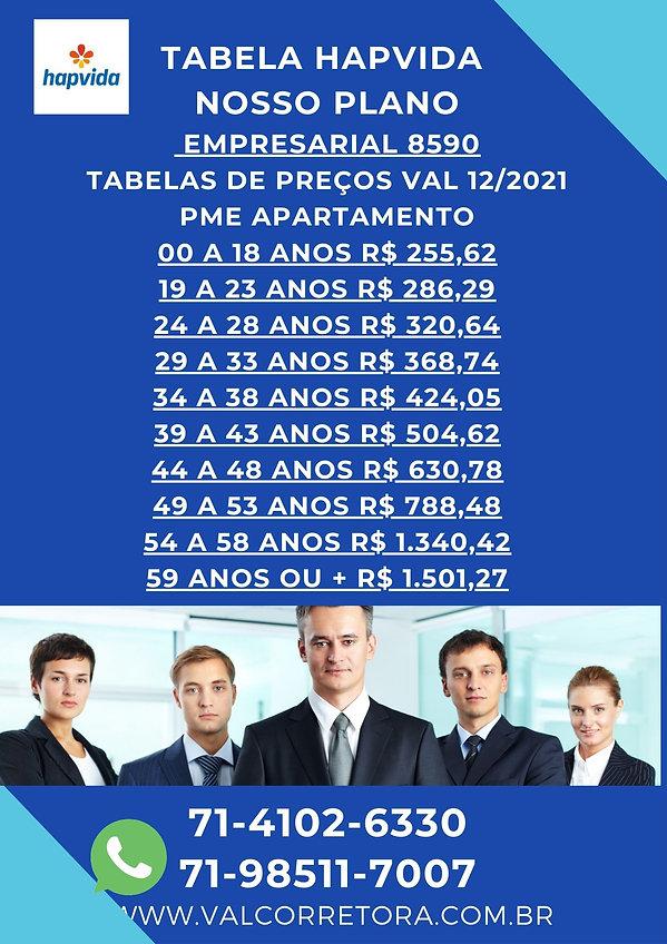 TABELAS HAPVIDA PLANO DE SAUDE EMPRESARIAL