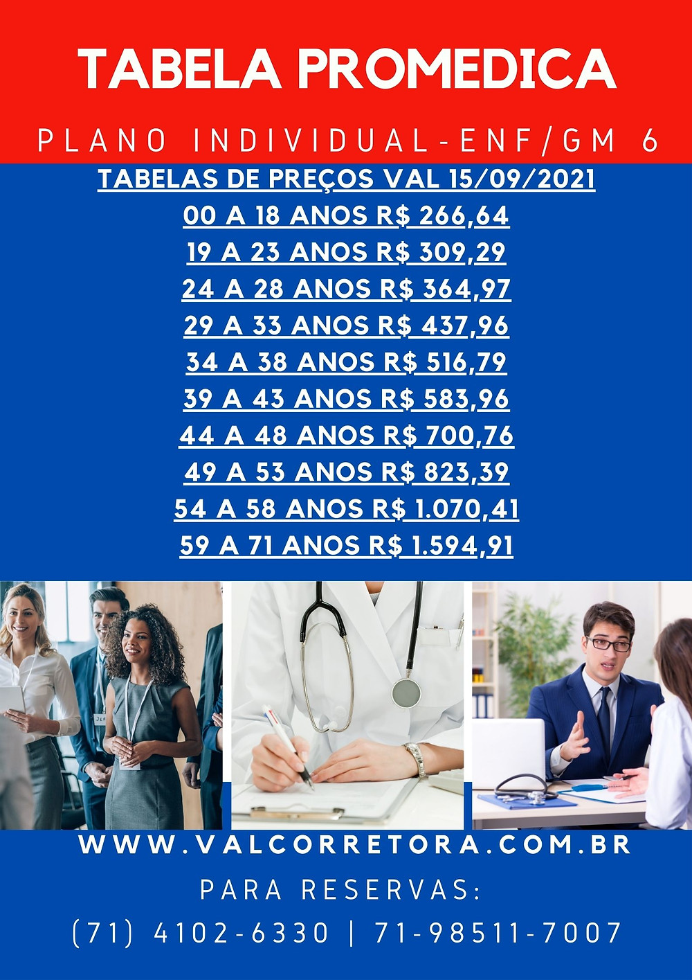 tabela plano de saude individual promedica
